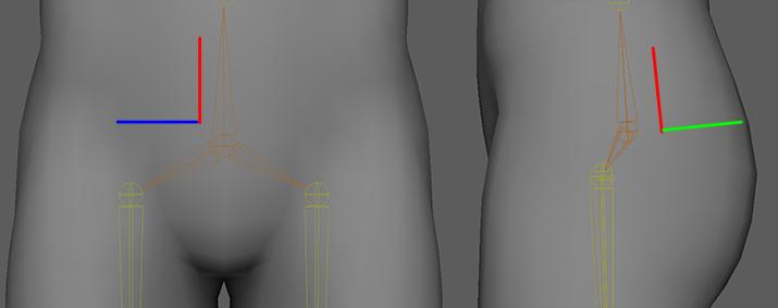 腰ジョイントの位置と方向
