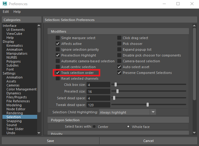 「windows > Settings/Preferences > Preferences」を開き、「Categories > settings > Selection > Modifiers」の中にある「Track selection order」